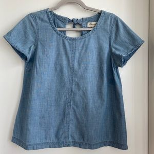 Madewell Chambray Tie Back Denim Top